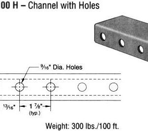Steel Channel with Holes(1 5/8 x 3 1/4 x 12 ga.)