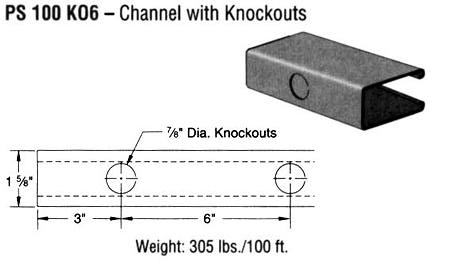 Steel Channel with Knockouts (1 5/8 x 3 1/4 x 12 ga.)