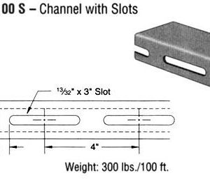 Steel Channel with Slots (1 5/8 x 3 1/4 x 12 ga.)