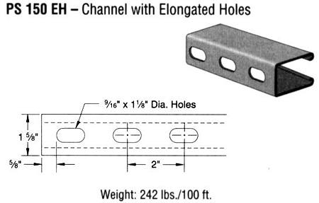 Steel Channel with Elongated Holes (1 5/8 x 2 7/16 x 12 ga.)