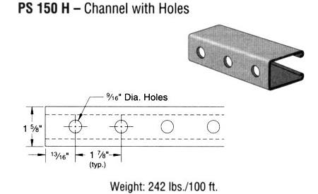 Steel Channel with Holes (1 5/8 x 2 7/16 x 12 ga.)