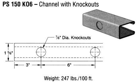 Steel Channel with knockouts (1 5/8 x 2 7/16 x 12 ga.)