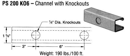 Steel Channel with Knockouts (1 5/8 x 1 5/8 x 12 ga.)
