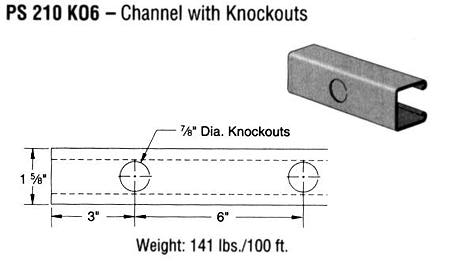 Steel Channel with Knockouts (1 5/8 x 1 5/8 x 14 ga.)