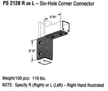 R or L Six-Hole Corner Connector