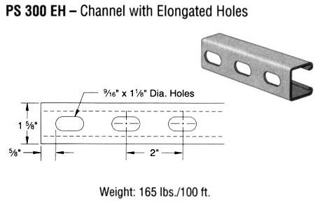 Steel Channel with Elongated Holes (1 5/8 x 1 3/8 x 12 ga.)