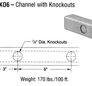 Steel Channel with Knockouts (1 5/8 x 1 3/8 x 12 ga.)