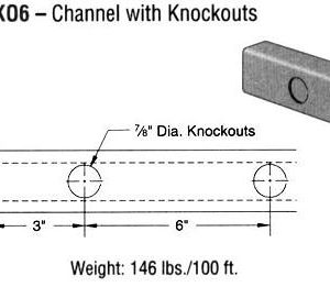 Steel Channel with Knockouts (1 5/8 x 1 x 12 ga.)