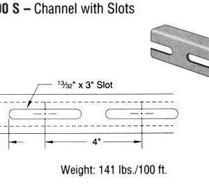 Steel Channel with Slots (1 5/8 x 1 x 12 ga.)