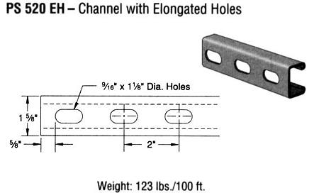Steel Channel with Elongated Holes (1 5/8 x 13/16 x 12 ga.)
