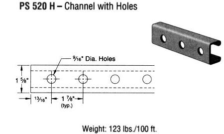 Steel Channel with Holes (1 5/8 x 13/16 x 12 ga.)
