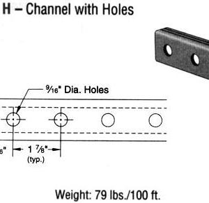 Steel Channel with Holes (1 5/8 x 13/16 x 16 ga.)