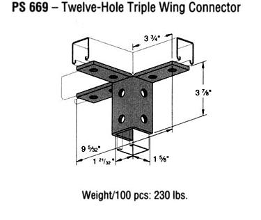 Twelve-Hole Triple Wing Connector