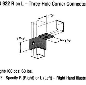 R or LThree-Hole Corner Connector