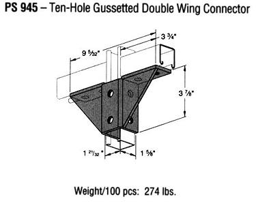 Ten-Hole Gussetted Double Wing Connector