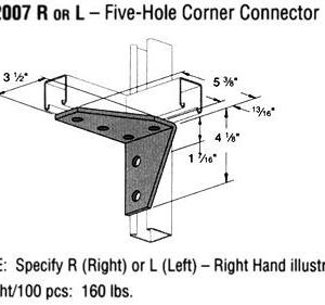 R or L Five-Hole Corner Connector