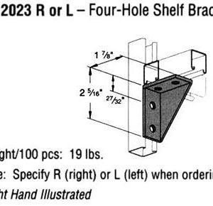 R or L Four-Hole Shelf Bracket