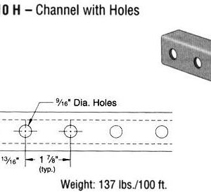 Steel Channel with Holes (1 5/8 x 1 5/8 x 14 ga.)