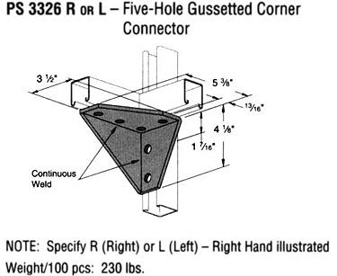 R or L Five-Hole Gussetted Corner Connector