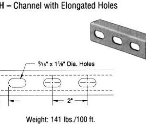 Steel Channel with Elongated Holes (1 5/8 x 1 x 12 ga.)