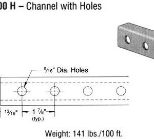 Steel Channel with Holes (1 5/8 x 1 x 12 ga.)