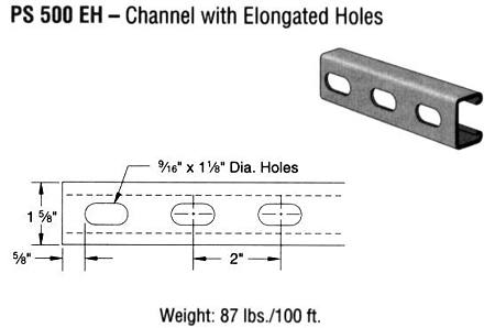 Steel Channel with Elongated Holes (1 5/8 x 13/16 x 14 ga.)