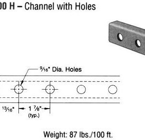 Steel Channel with Holes (1 5/8 x 13/16 x 14 ga.)