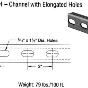 Steel Channel with Elongated Holes (1 5/8 x 13/16 x 16 ga.)