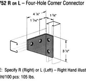 R or L Four-Hole Corner Connector
