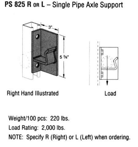 R or l Single Pipe Axle Support